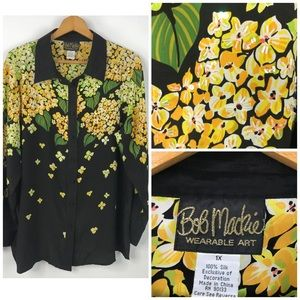 Bob Mackie Black & Yellow Floral Silk Blouse 1X